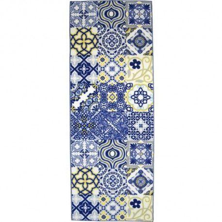 utopia tapis de couloir carreaux de ciment 80x300 cm bleu jaune et blanc