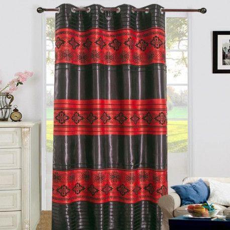 rideau occultant a oeillets 140x260 cm rouge et noir