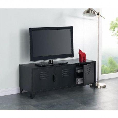 camden meuble tv industriel en metal noir laque l 120 cm