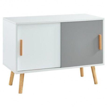 alphonse meuble tv vintage melamine blanc et gris mat pietement en hevea massif l