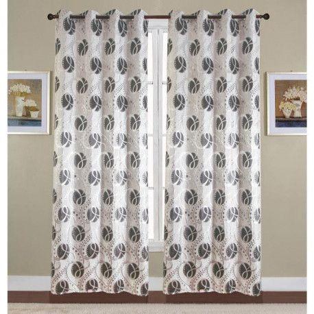 paire de double rideaux 140x260 cm noir avec motif