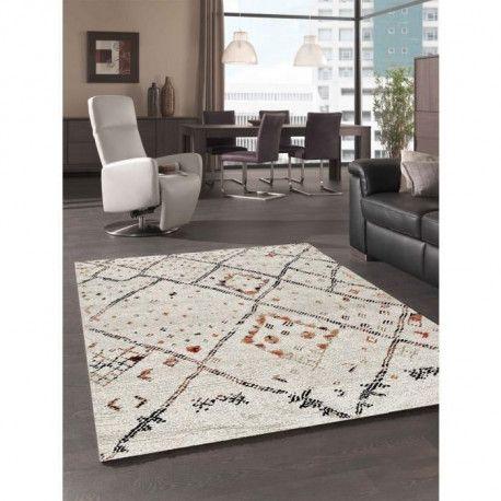 asma tapis de salon style berbere en polypropylene 80x150 cm beige et noir