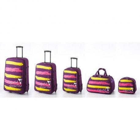 tantine et compagnie set de 3 valises sac de voyage vanity souple 2 roues