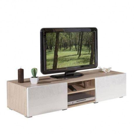 lime meuble tv contemporain blanc laque et decor chene l 140 cm