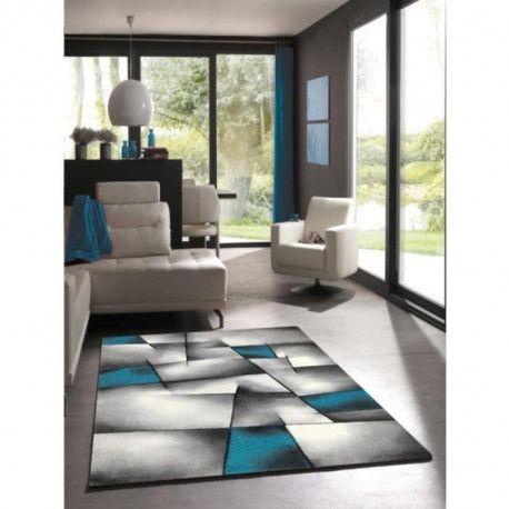 brillance tapis de salon 120x170 cm turquoise noir et gris