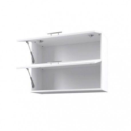 city meuble haut de cuisine 80 cm laque blanc brillant