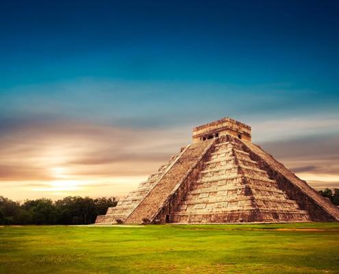 Kukulkan Pyramid in Chichen-Itza Yucatan, Mexico
