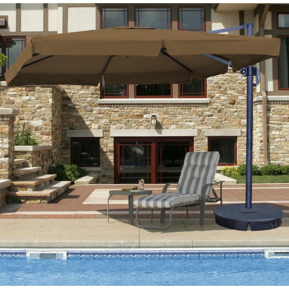 santorini ii cantilever umbrella 10 square with valance sunbrella acrylic stone