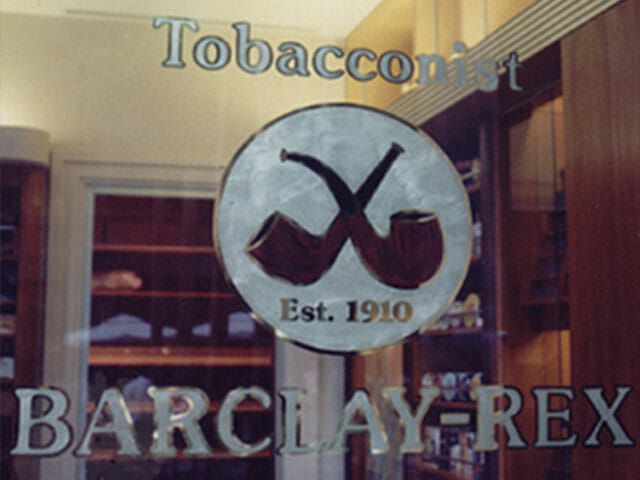 Gold Leaf Sign for Barclay Rex Tobacconist