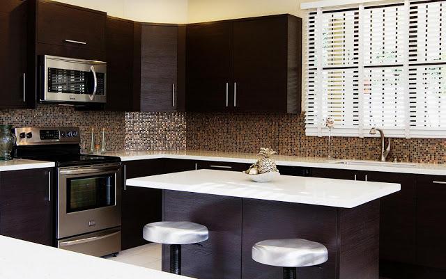 RTA Espresso Kitchen Cabinets With White Island Roy Home Design