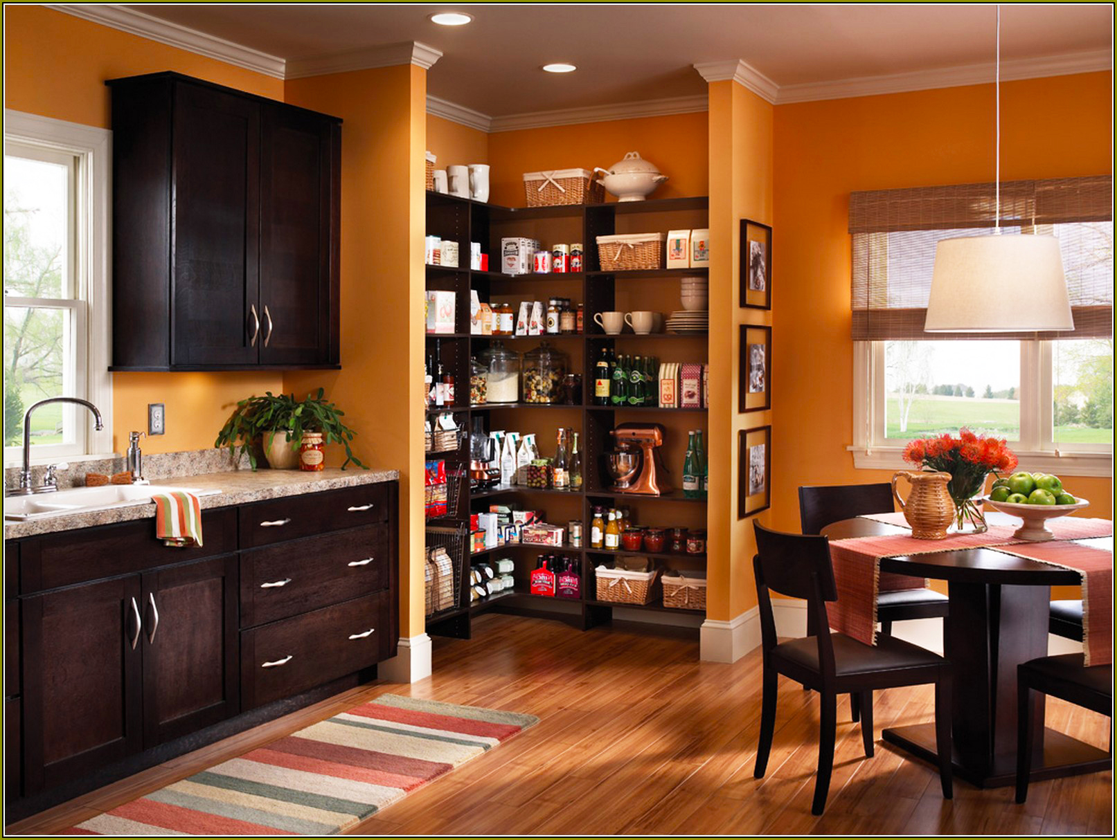kitchen with pantry cabinet wooden bench for table ideas custom cabinets roy home design