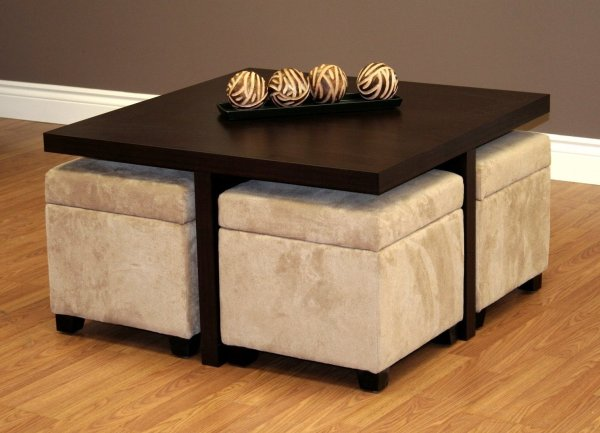 Coffee Table Ottomans with Storage