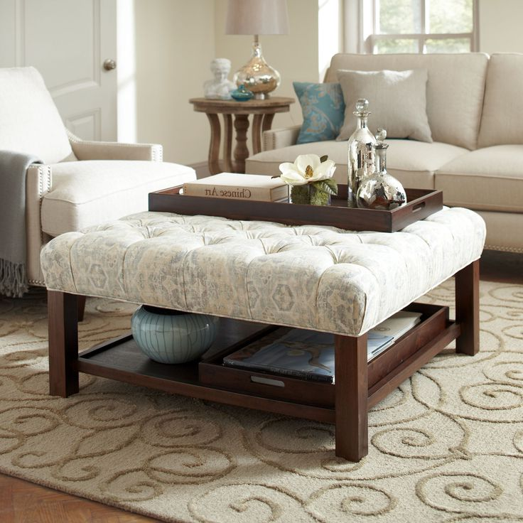 Cream Tufted Ottoman Coffee Table