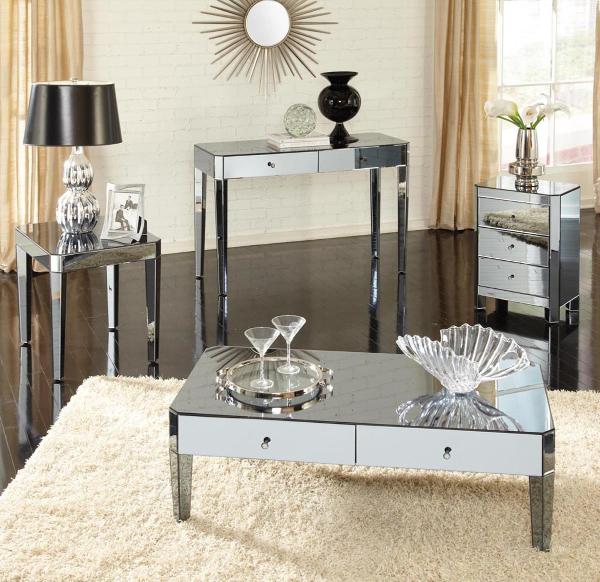 Mirrored Coffee Table Tray