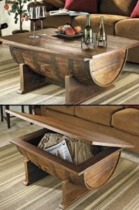 Wooden Barrel Coffee Table Furniture