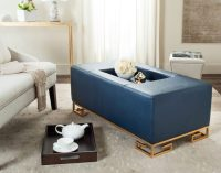 Navy Blue Coffee Table with Tufted Ottoman | Roy Home Design