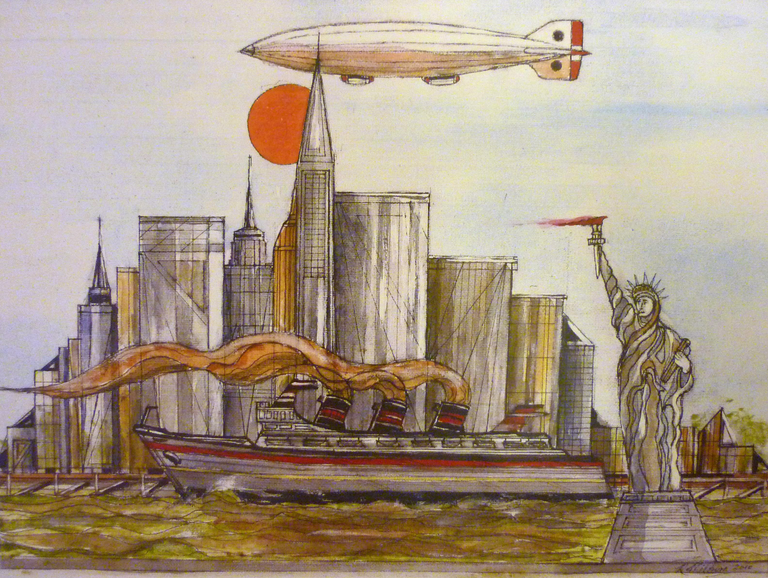 New York, Airship, Statue of Liberty, Steam Ship. Watercolour.2009