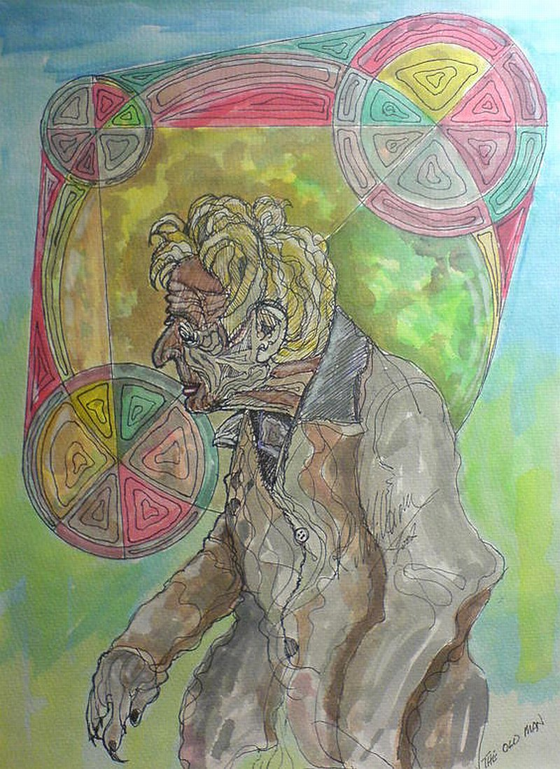 Old Man and abstract, watercolour and pen,