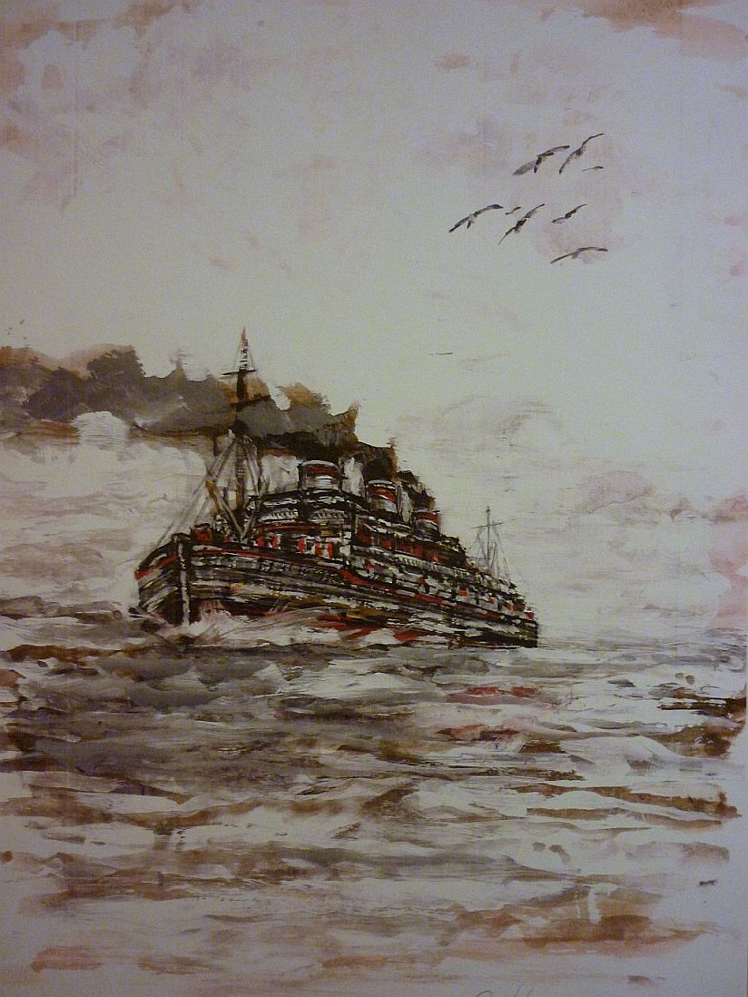 Steam Ship, rouch sea. watercolour painting.