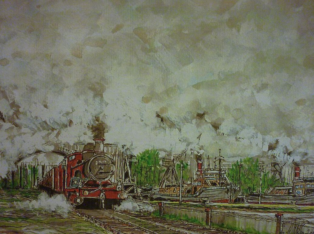 Steam Trainand Barge Sheringham, Norfolk, watercolour.