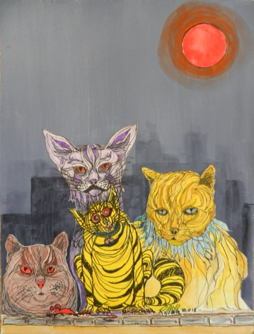 cats,tabby,ginger,whimsical,painting, lonodn,