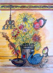 Still Life, 1950, artist, watercolour, expressionist,