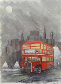 Routemaster Bus. Acrylic.