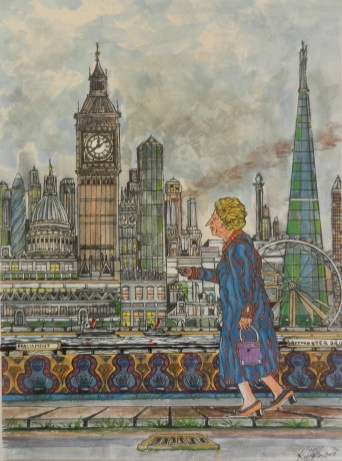 Maggie Returns to Parliment. Mixed media.