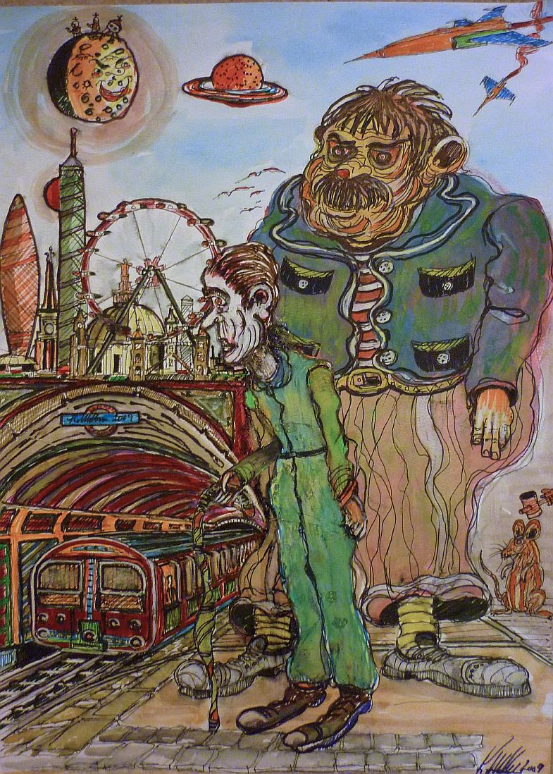 Strange, London Underground, Pen and watercolour, london eye, gherkin, rats, london,