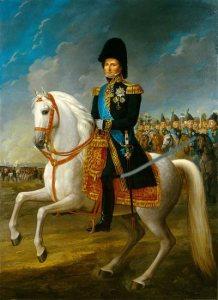 Król Szwecji Karol XIV Jan na czele armii ruszającej… przeciwko Francuzom.
