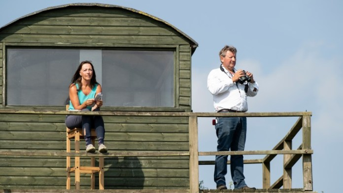Mark and Deirdre Johnston oversee morning work at Kingsley Park stables