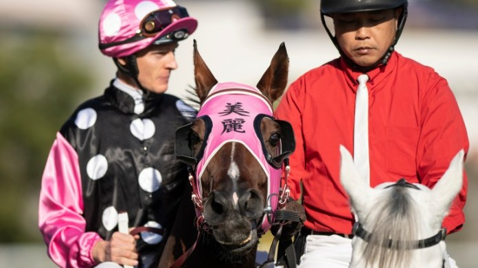 Beauty Generation and Zac Purton before finishing third in the Hong Kong Mile