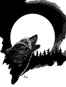 The Art of W Fraser Sandercombe: Full Moon Wolf