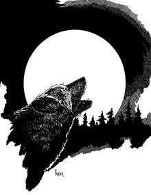 The Art of W Fraser Sandercombe: Full Moon Wolf