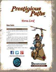 Prestigious Paths: Horse Lord for the Pathfinder RPG
