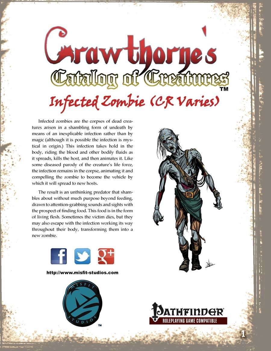 Crawthorne's Catalog of Creatures: Infected Zombie for the Pathfinder RPG
