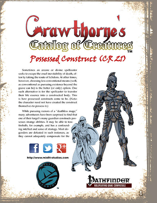 Crawthorne's Catalog of Creatures: Possessed Construct for the Pathfinder RPG