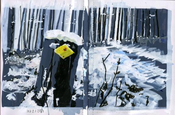 Skizze von einem Winterwaldwanderweg. Gezeichnet mit Acrylmarker in Grautönen.