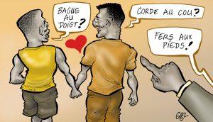 Caricature présentant un couple gay