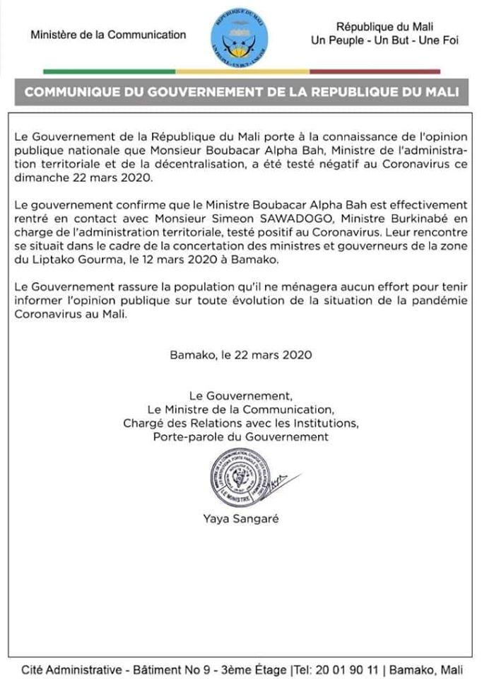 Communiqué du gouvernement malien au sujet du test négatif du ministre Boubacar Alpha BA au Coronavirus