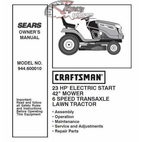 Craftsman Tractor Parts Manual 944.600010