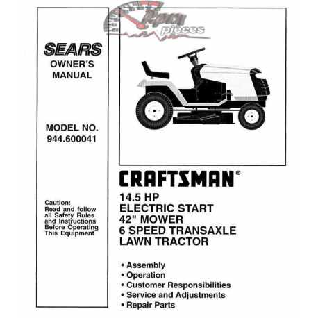 Craftsman Tractor Parts Manual 944.600041