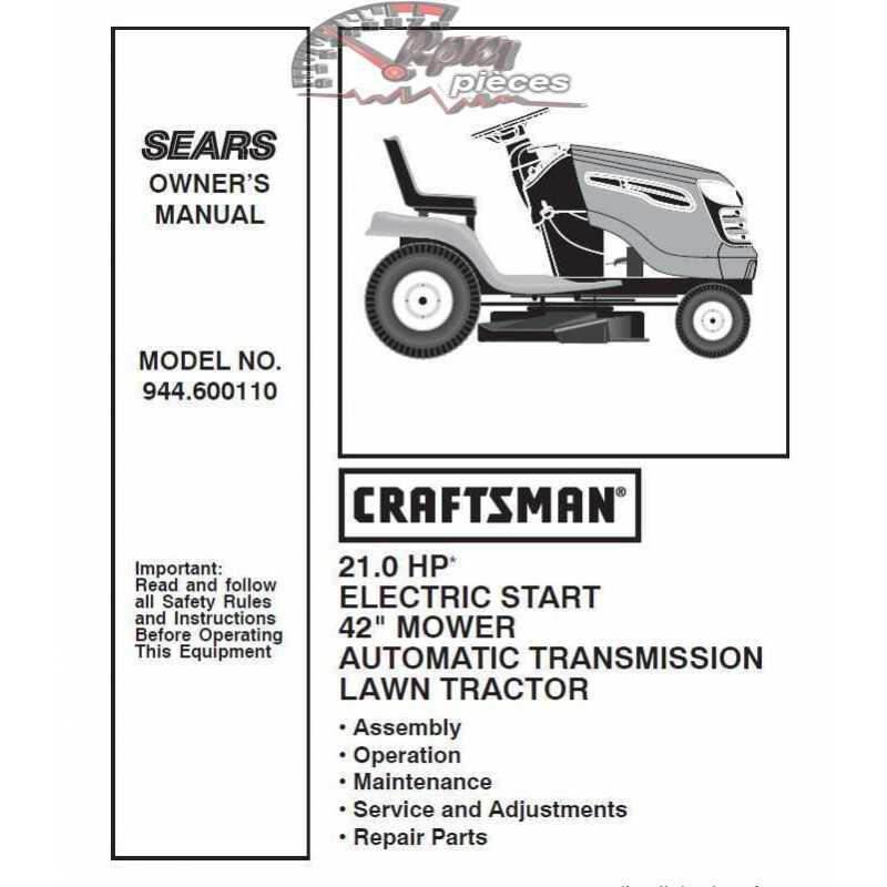 Craftsman Tractor Parts Manual 944.600110