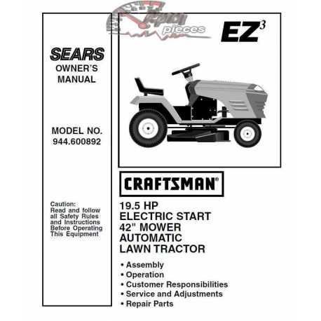 Craftsman Tractor Parts Manual 944.600892