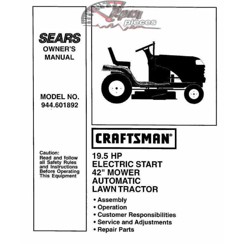 Craftsman Tractor Parts Manual 944.601892