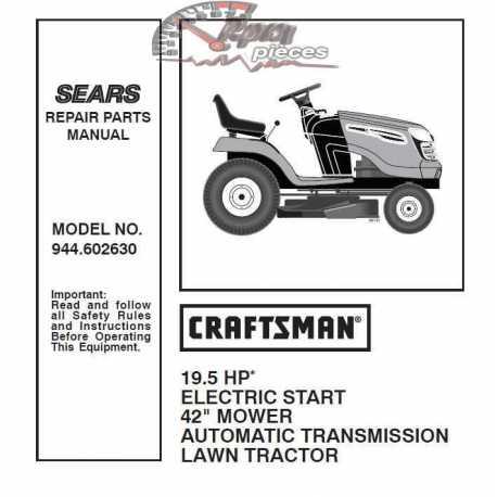 Craftsman Tractor Parts Manual 944.602630