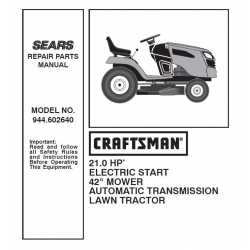 Craftsman Tractor Parts Manual 944.602640