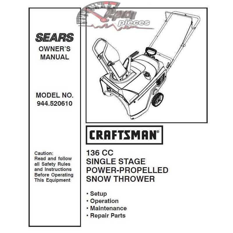 Craftsman snowblower Parts Manual 944.520610