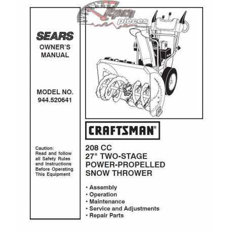 Craftsman snowblower Parts Manual 944.520641