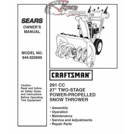 Craftsman snowblower Parts Manual 944.520650